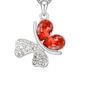 Red Crystal Butterfly Pendant & Necklace Jewelry